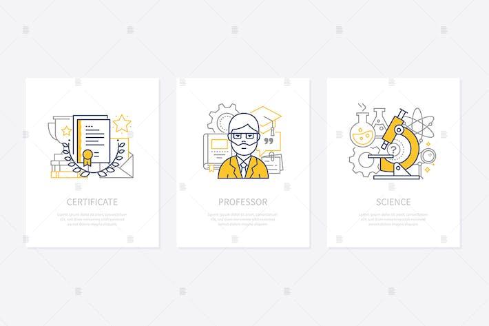 Certificates, diplomas, awards concept icons set