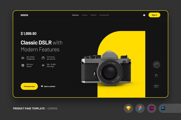 Thumbnail for Web Design UI Kit Product Page Template - Camera