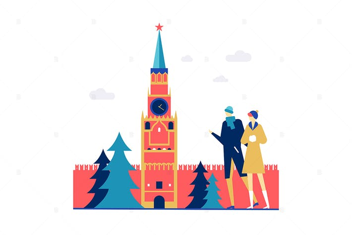 Thumbnail for Visit Russia - flat design style illustration