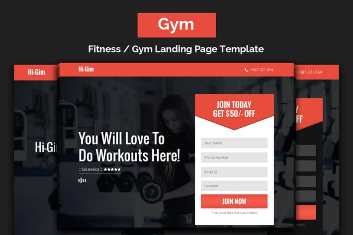 Thumbnail for Hi-Gim | Fitness / Gym Landing Page Template