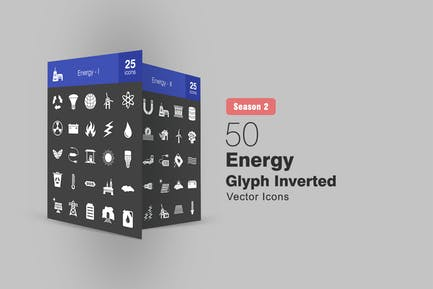 50 Energy Glyph Inverted Icons Season II