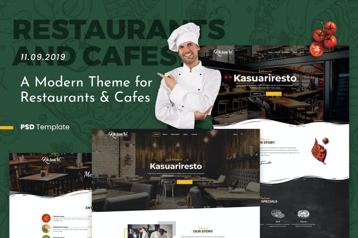 Thumbnail for Kasuari | Restaurants and Cafes PSD Template