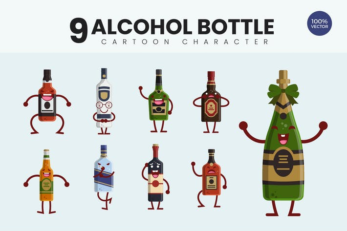 Cover Image For 9 Cute Alcohol Bottle Vector Illustration
