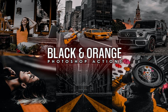 Thumbnail for Black and Orange Photoshop Actions