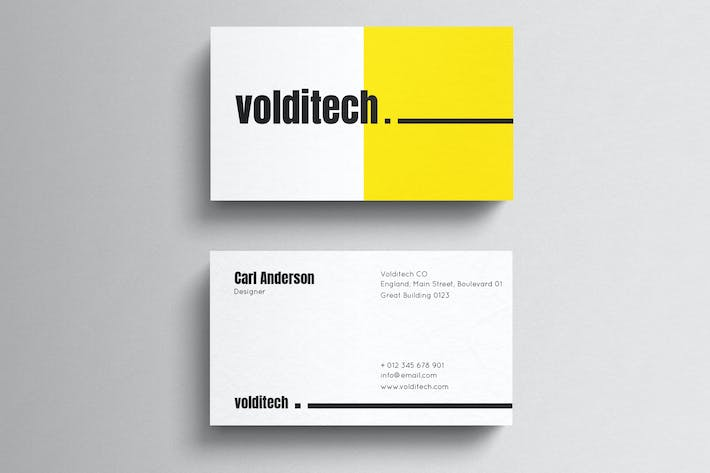 Thumbnail for Yellow Minimal Business Card Template
