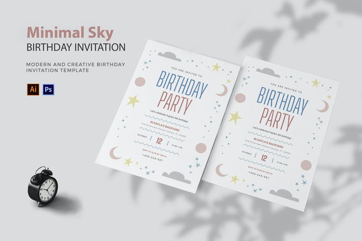 Thumbnail for Minimal Sky - Birthday Invitation
