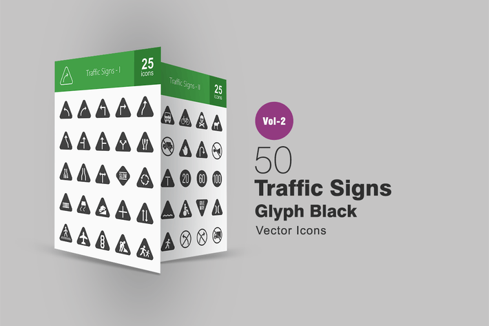 Thumbnail for 50 Traffic Signs Glyph Icons
