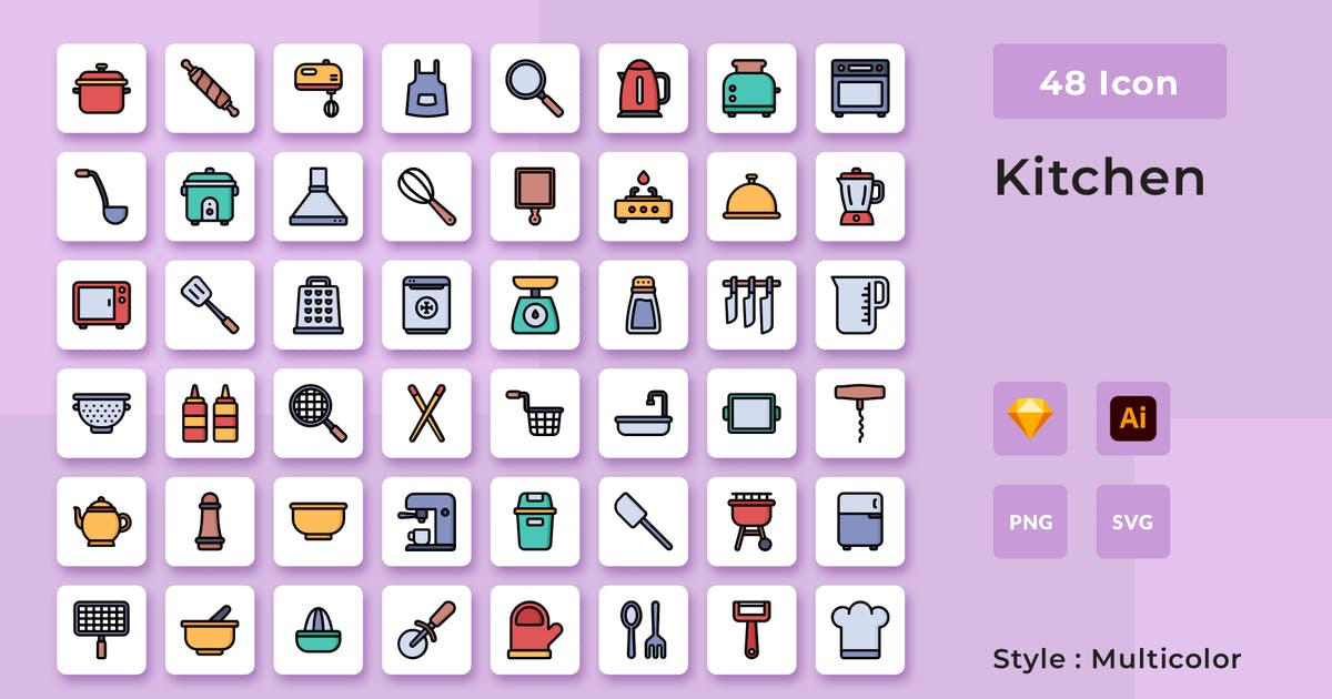 Download Cooking Multicolor Style Icon Pack by usedesignspace