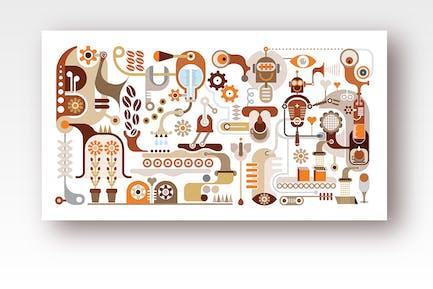 Fábrica de café y equipo para hacer café