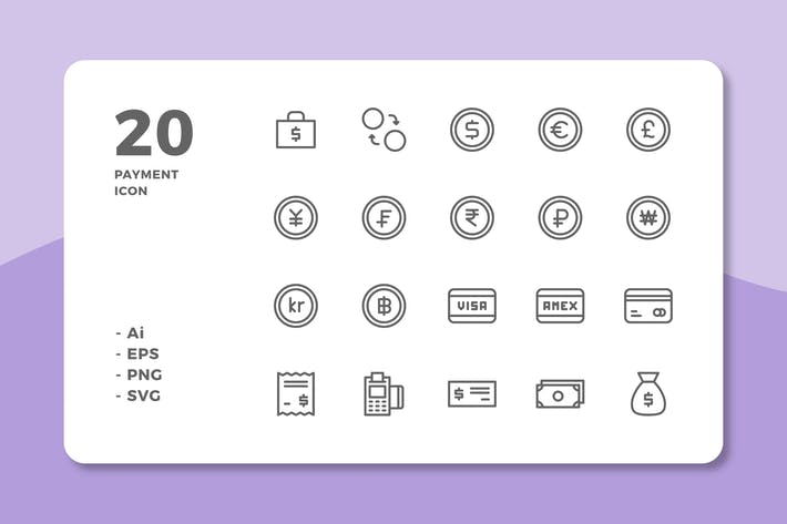Thumbnail for 20 Payment Icons (Line)