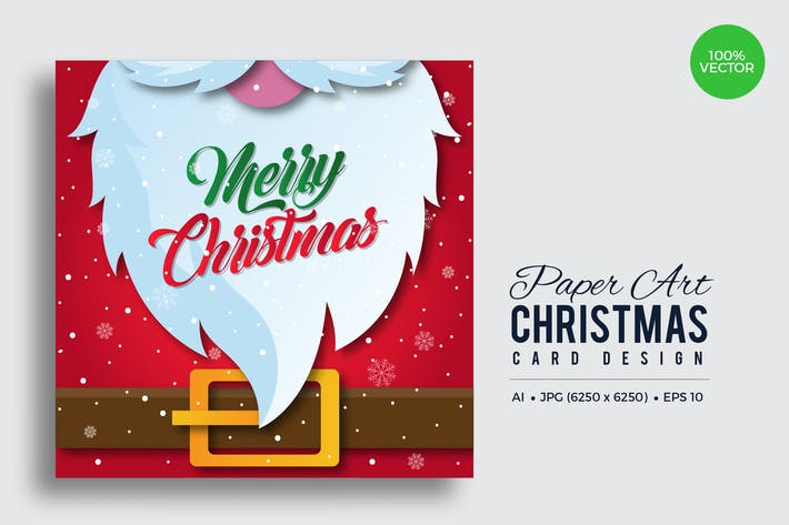 Thumbnail for Merry Christmas Square Vector Card Vol.3