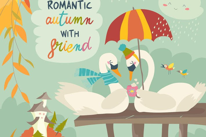 Thumbnail for Cute romantic swans in autumn park. Vector