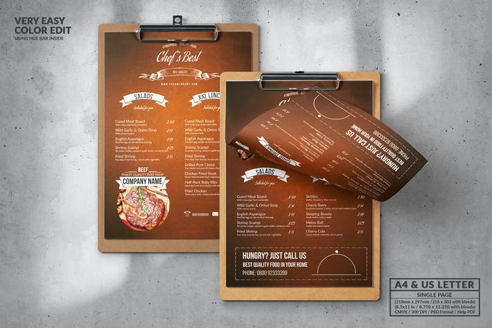 Thumbnail for Vintage Food Menu Design A4 & US Letter