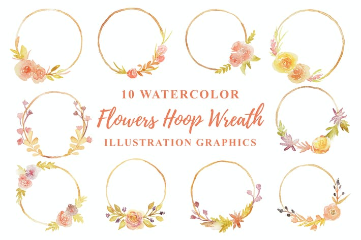 Thumbnail for 10 Watercolor Flowers Hoop Wreath Illustration