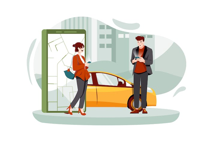 Thumbnail for People using online ordering taxi car sharing