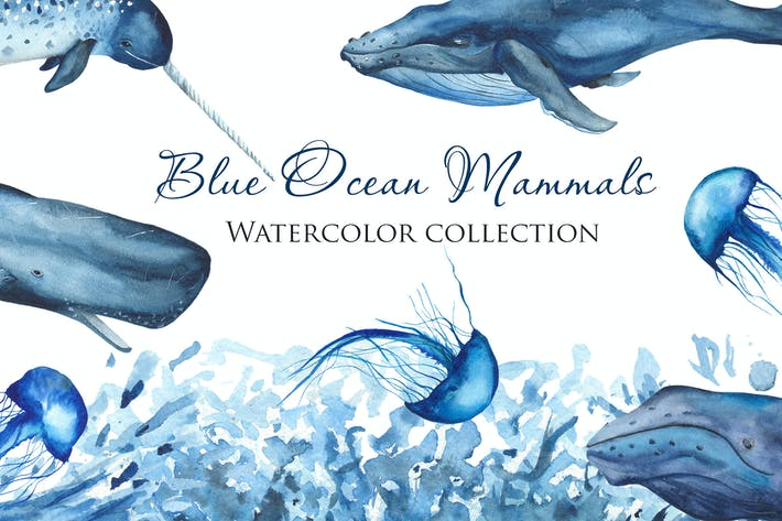 Thumbnail for Watercolor Blue Ocean Mammals