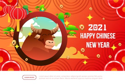 Ox - Happy Chinese New Year Illustration