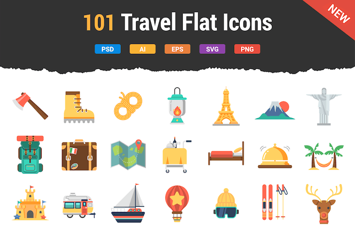 Thumbnail for 100 Travel Flat Icons