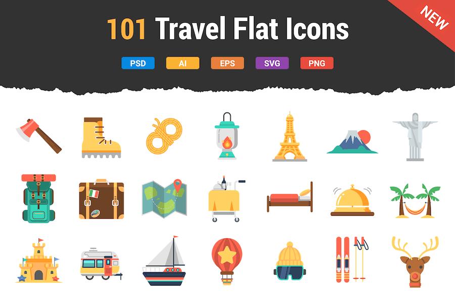 100 Reise-Icons