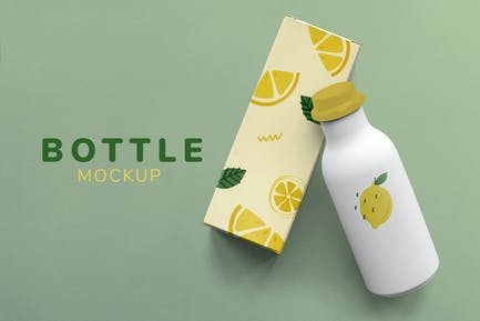 Bottle and box product mockup design