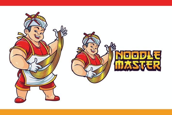 Cover Image For Cartoon Asian Chef Making Noodles Mascot Logo