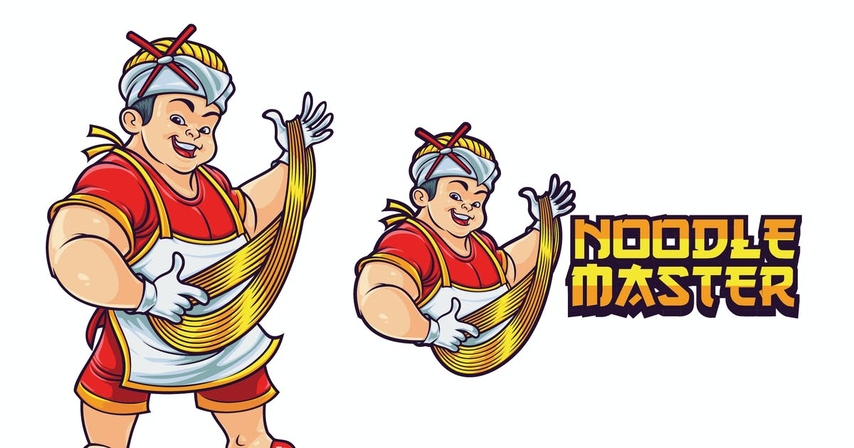 Download Cartoon Asian Chef Making Noodles Mascot Logo by Suhandi