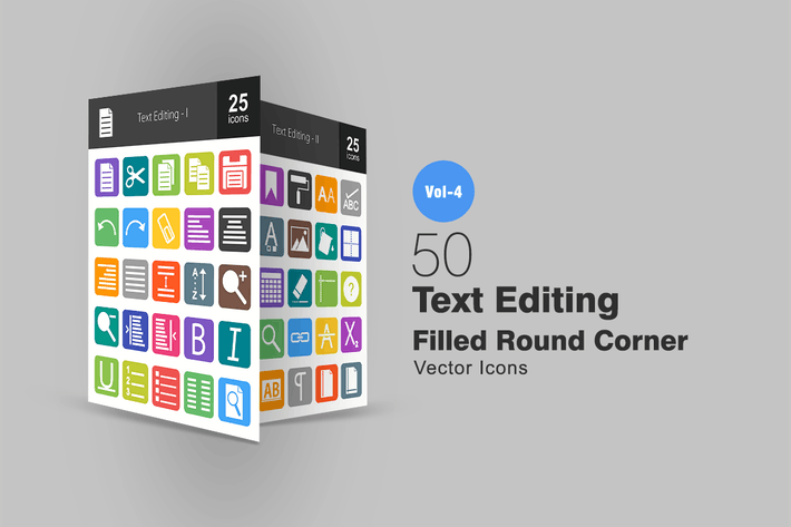 Thumbnail for 50 Text Editing Flat Round Corner Icons