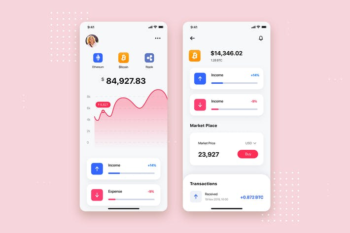 Thumbnail for Crypto Wallet Mobile App UI Kit Template