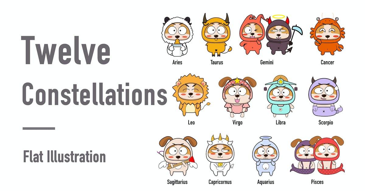 Download Twelve constellations - flat Illustration by htpvvv3