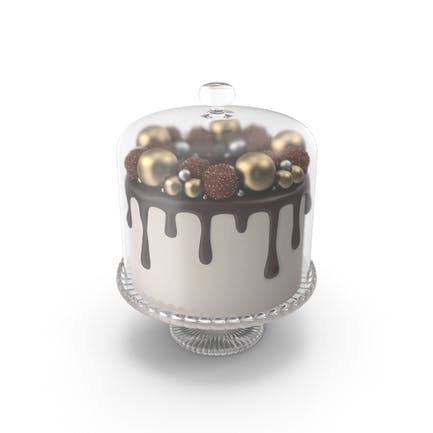 Chocolate Cake with Candy Decor and Glass Dome