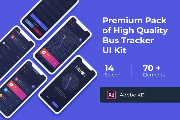 Cover Image For Bus Map Tracking UI KIT for XD