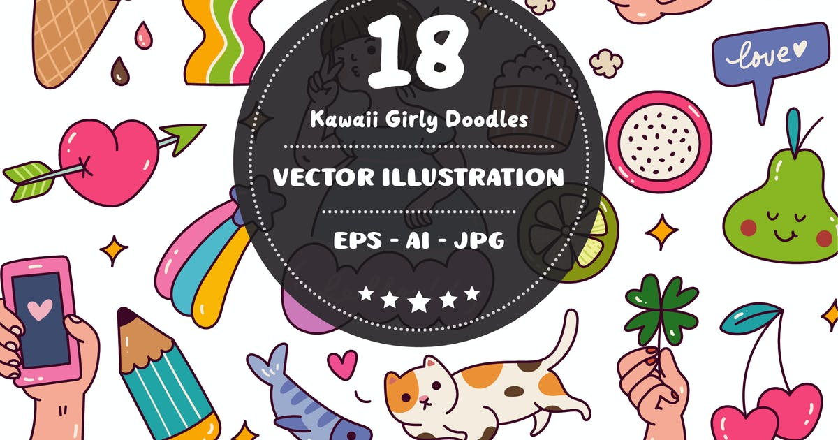 Download Kawaii Girly Doodles Vector by GoDoodle