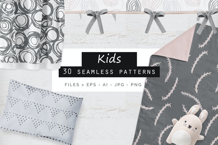Cover Image For Cute Kids Seamless Patterns