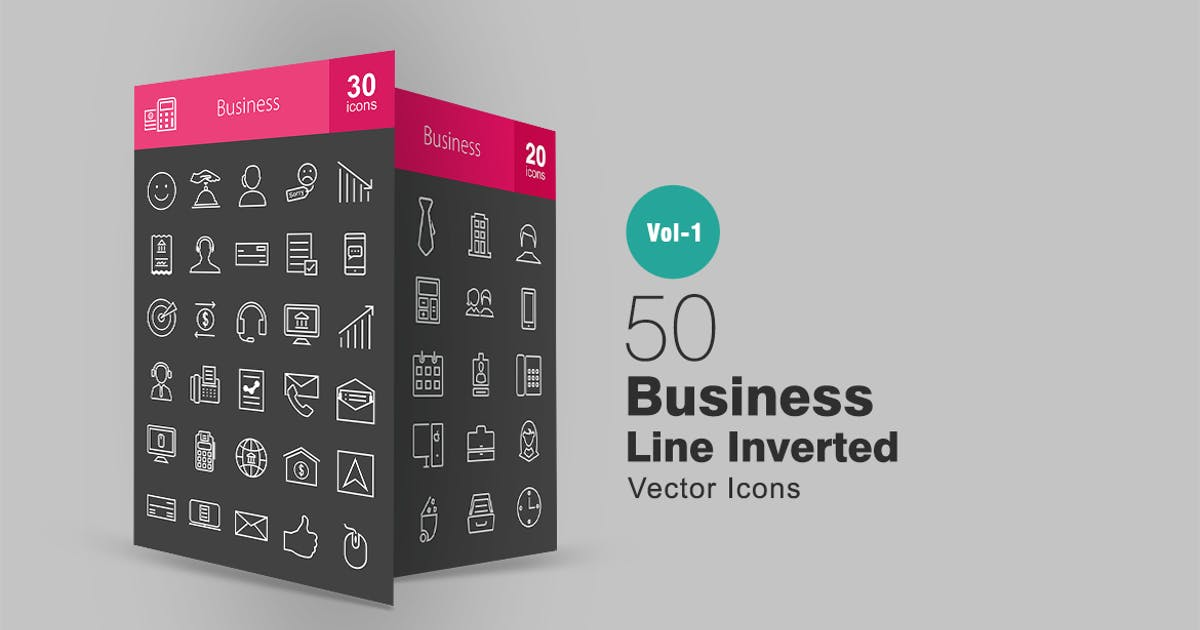 Download 50 Business Line Inverted Icons by IconBunny