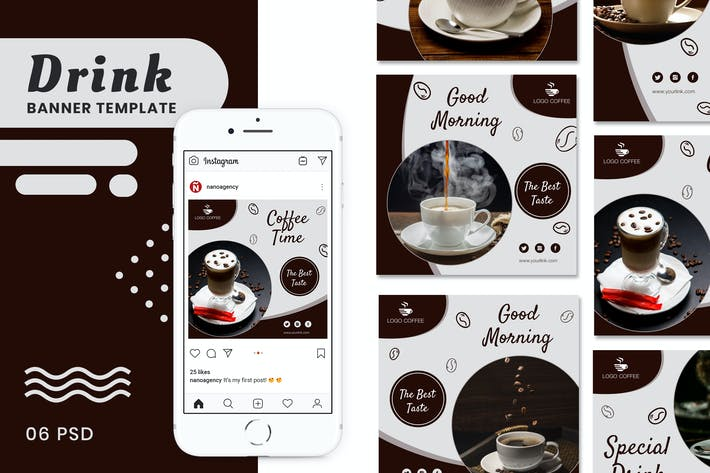 Thumbnail for Coffee & Drink Banners Social Media Post Templates