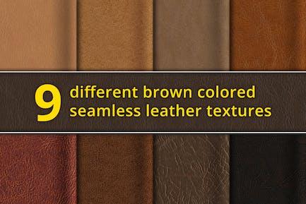 Set aus 9 nahtlosen braunen Ledertexturen