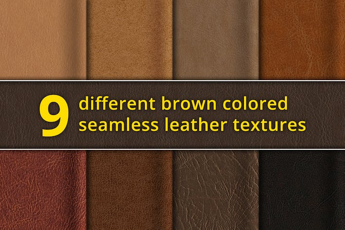 Thumbnail for Set of 9 seamless brown leather textures