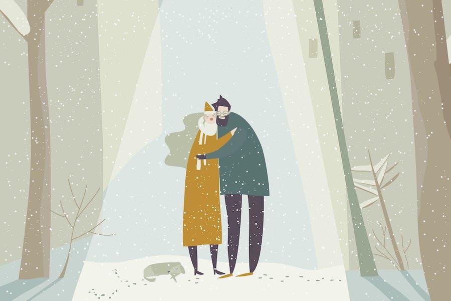 Pareja de dibujos animados en el amor abrazando en la calle nevando.