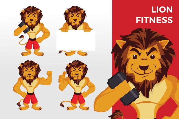 Thumbnail for Lion Fitness Mascot Character Set