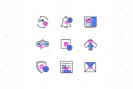 Business und Management - line design style Icons