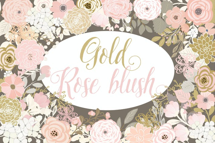 Thumbnail for Vector Gold Rose Blush floral elements