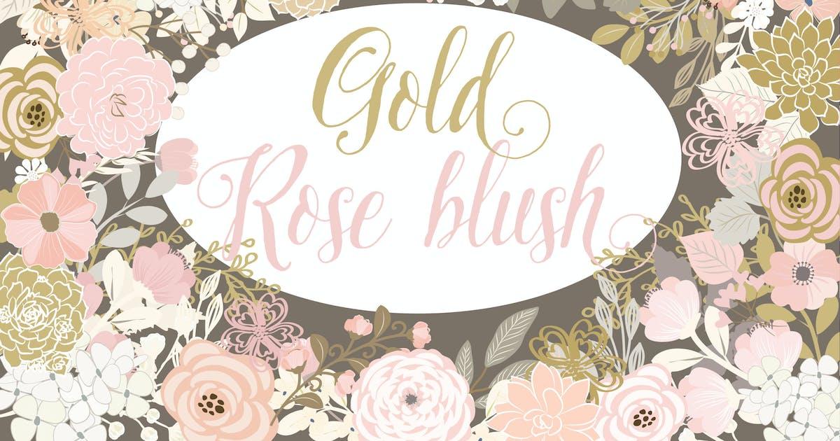 Download Vector Gold Rose Blush floral elements by designloverstudio