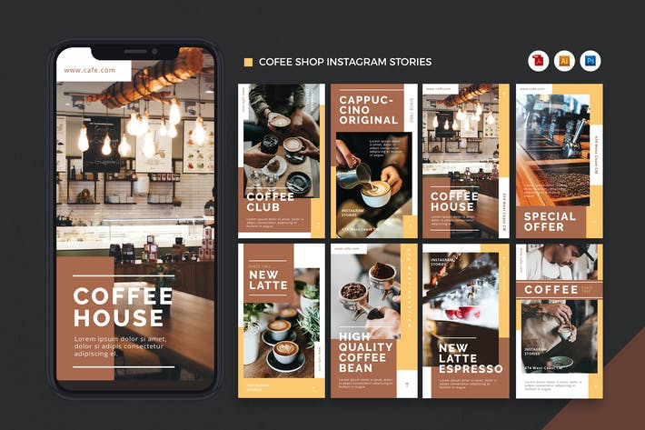 Thumbnail for Coffee Shop Instagram Stories AI and PSD