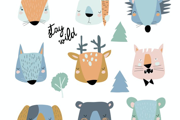 Thumbnail for Vector set of cute animals heads on white backgrou