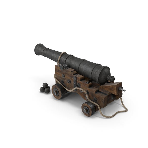 Medieval Gun on Gun Carriage with Rope and Cannonballs