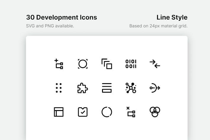 Icones de ligne de développement