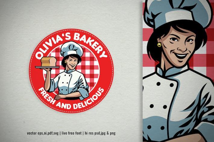femme vintage femme boulangerie chef Logo