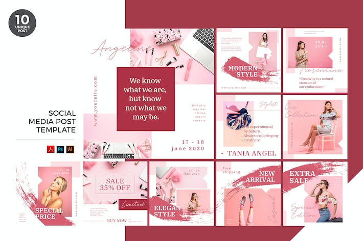 Thumbnail for Pink Fashion Social Media Kit PSD & AI Template