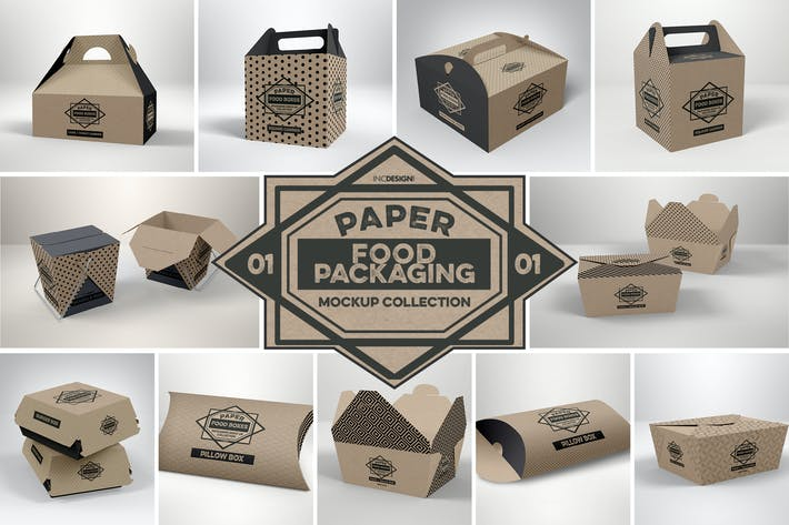 Thumbnail for Paper Food Packaging Mockups Vol.1