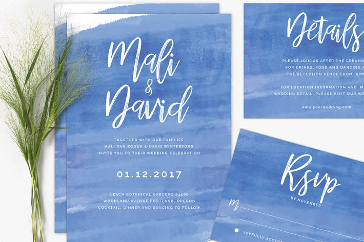 Thumbnail for Modern Brush Wedding Invitations